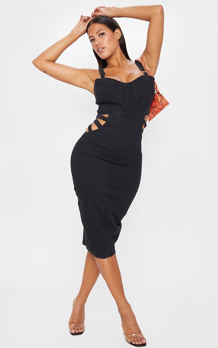 Shape Black Cut Out Waist Corset Detail Denim Midi Dress 1