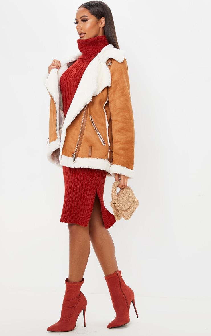 Rust Roll Neck Midi Sweater Dress 4