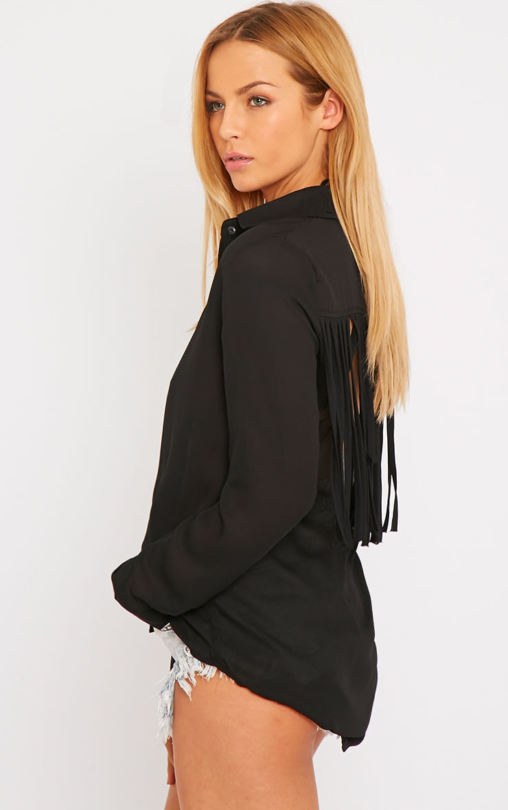 Anoki Black Fringe Back Chiffon Shirt 1