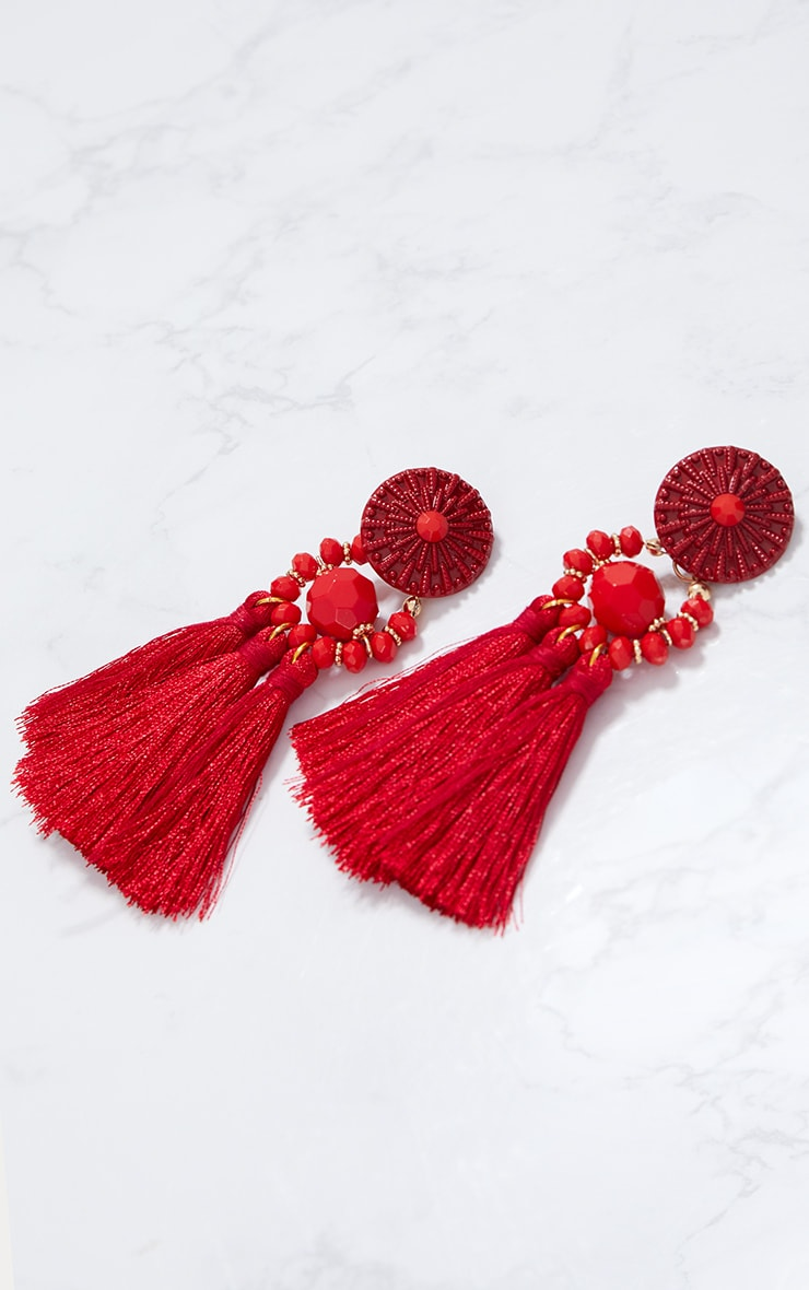 Red Acrylic Bead Tassel Earring 3