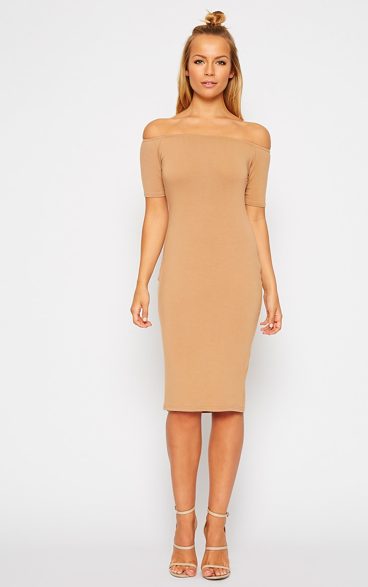 Caty Camel Jersey Bardot Midi Dress 3