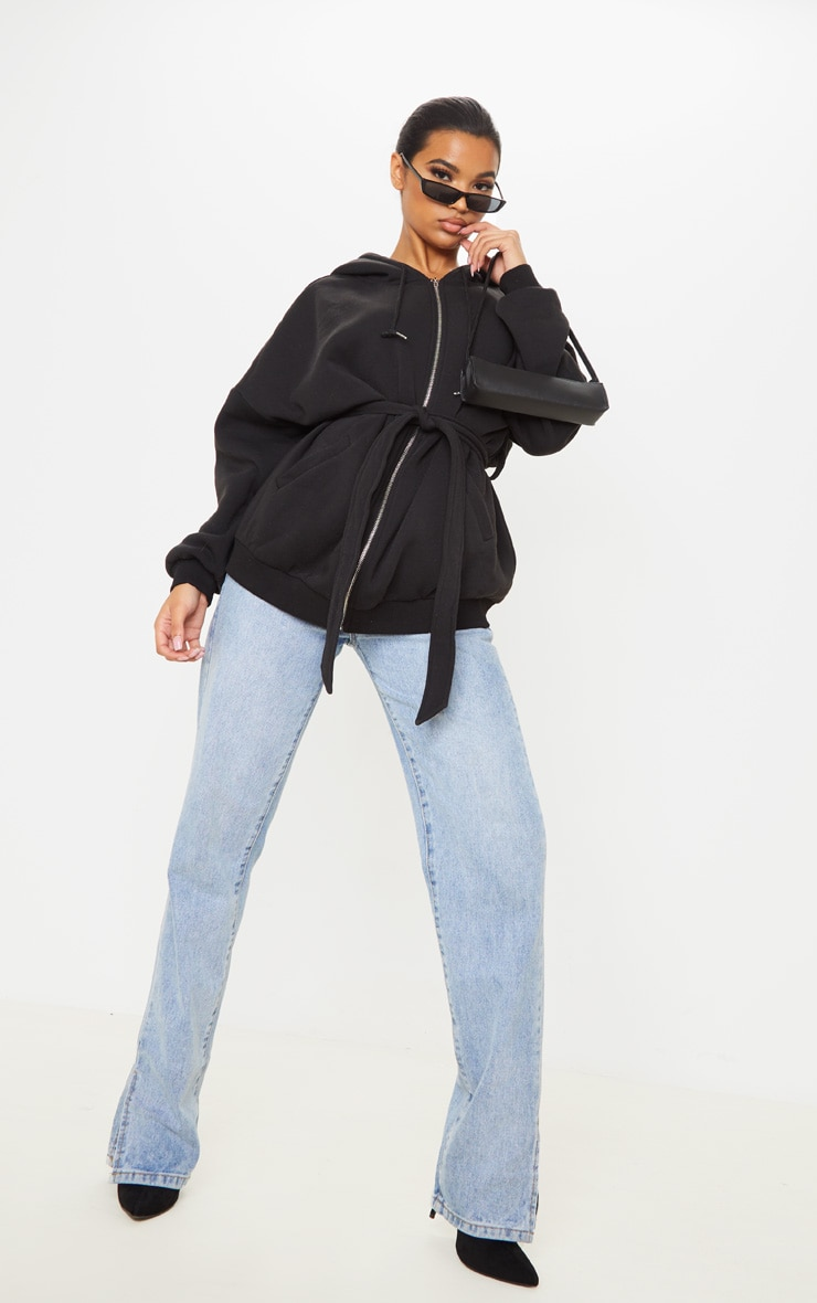 Black Oversized Belted Sweat Hoodie 4