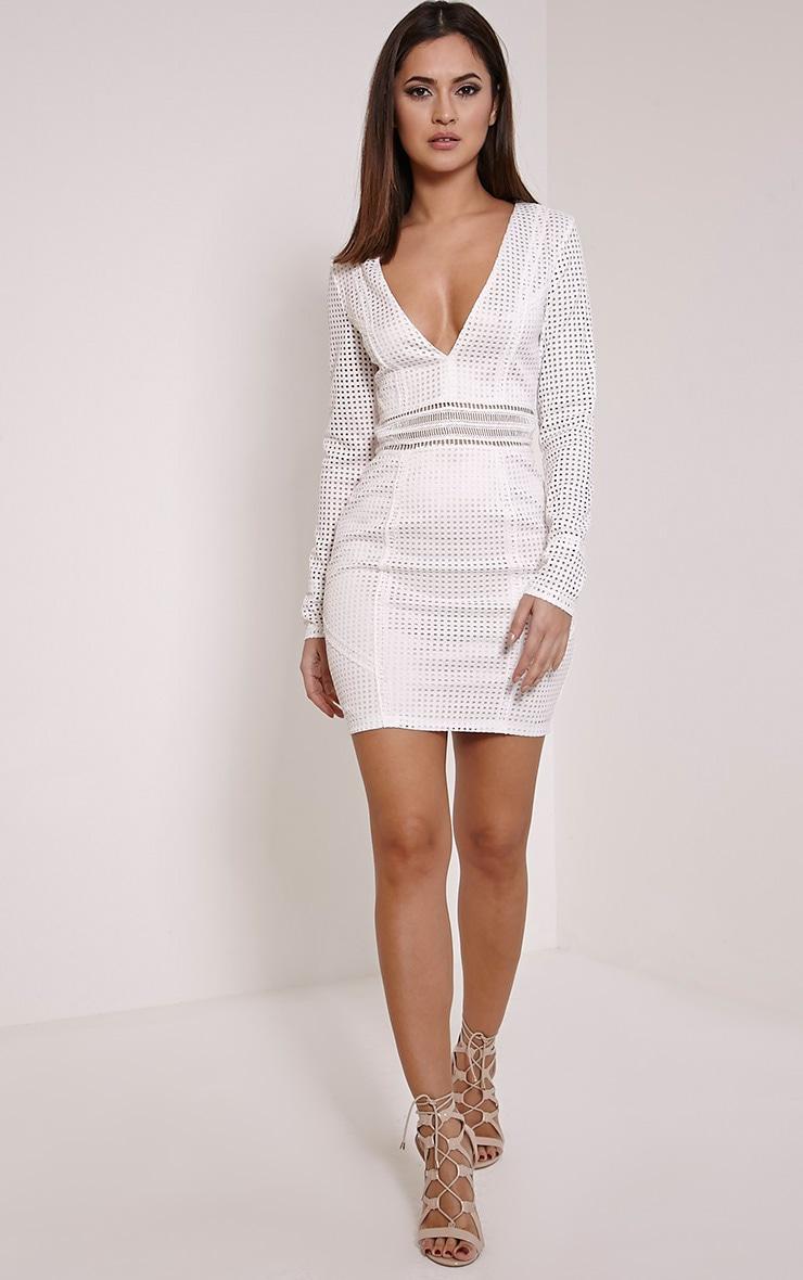 Jamey Cream Square Lace Plunge Mini Dress 4