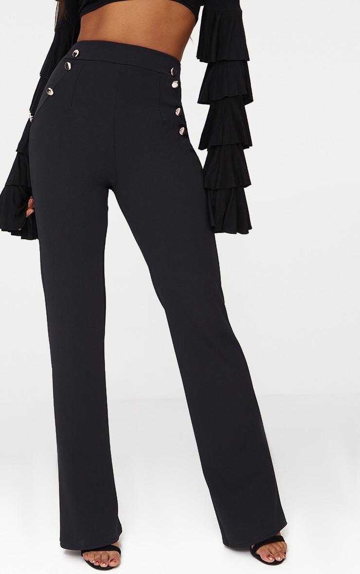 Black Military High Waist Button Wide Leg Trousers 2