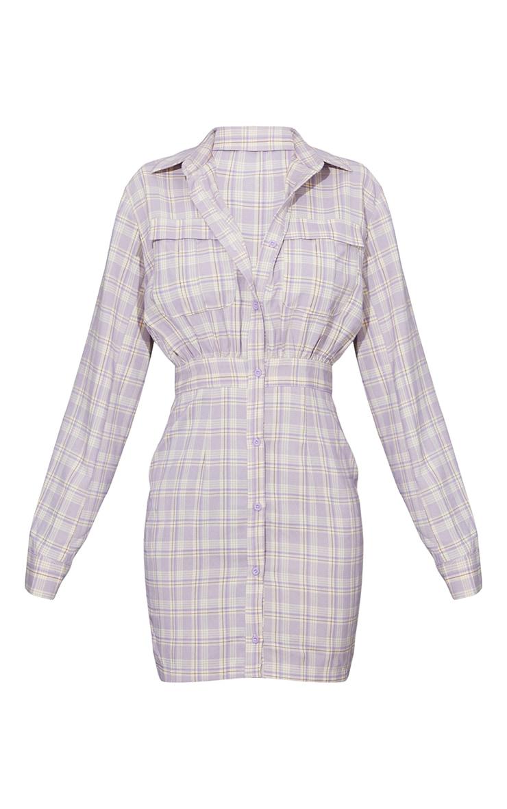 Lilac Check Print Gathered Waist Detail Shirt Dress 5