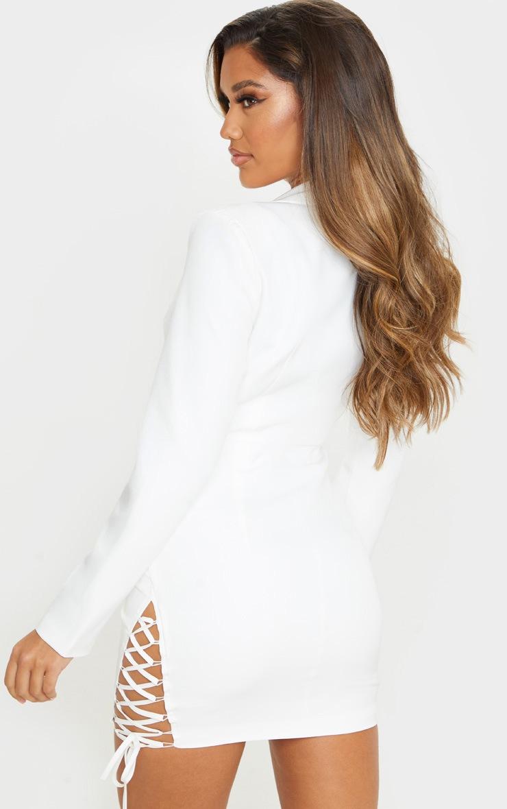 White Hook And Eye Lace Up Detail Long Sleeve Blazer Dress 2