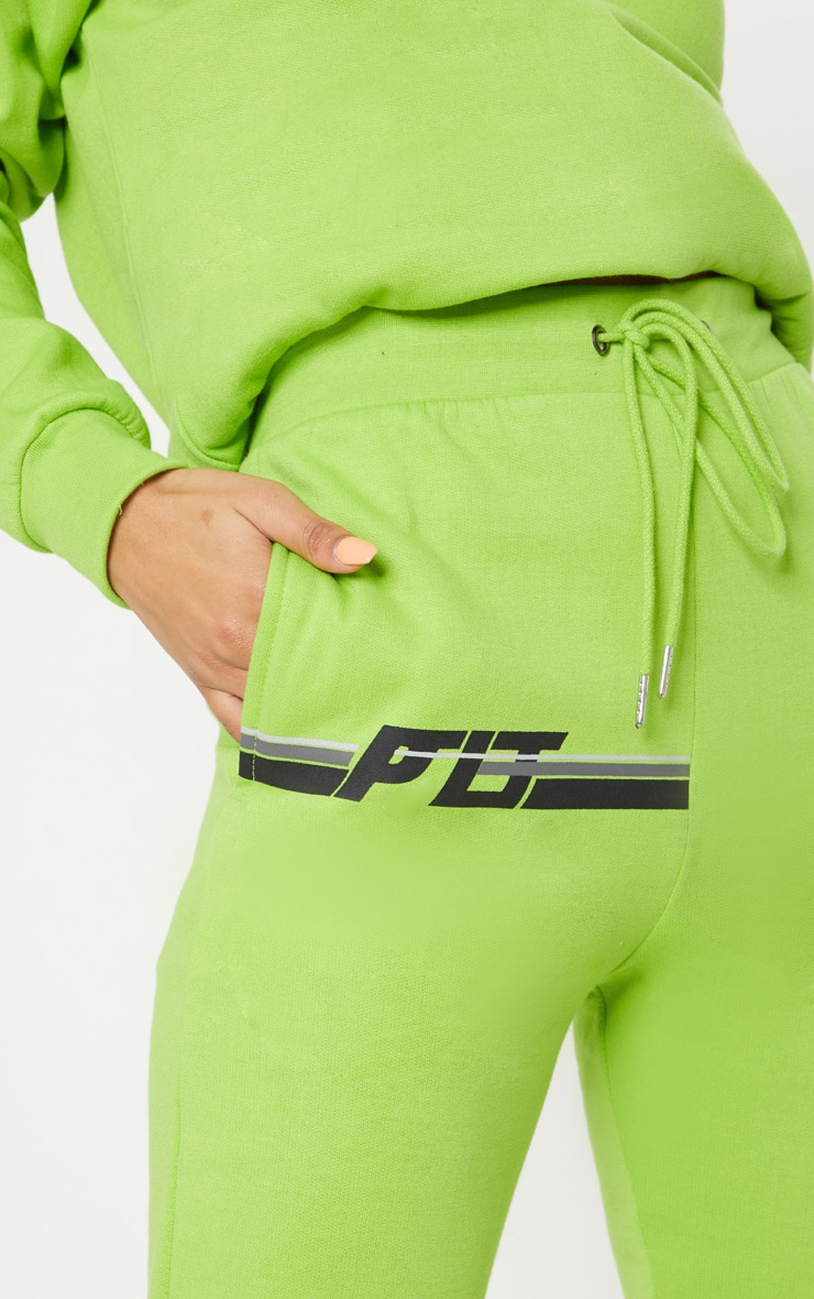 PRETTYLITTLETHING Neon Lime Printed Multi Stripe Jogger 5