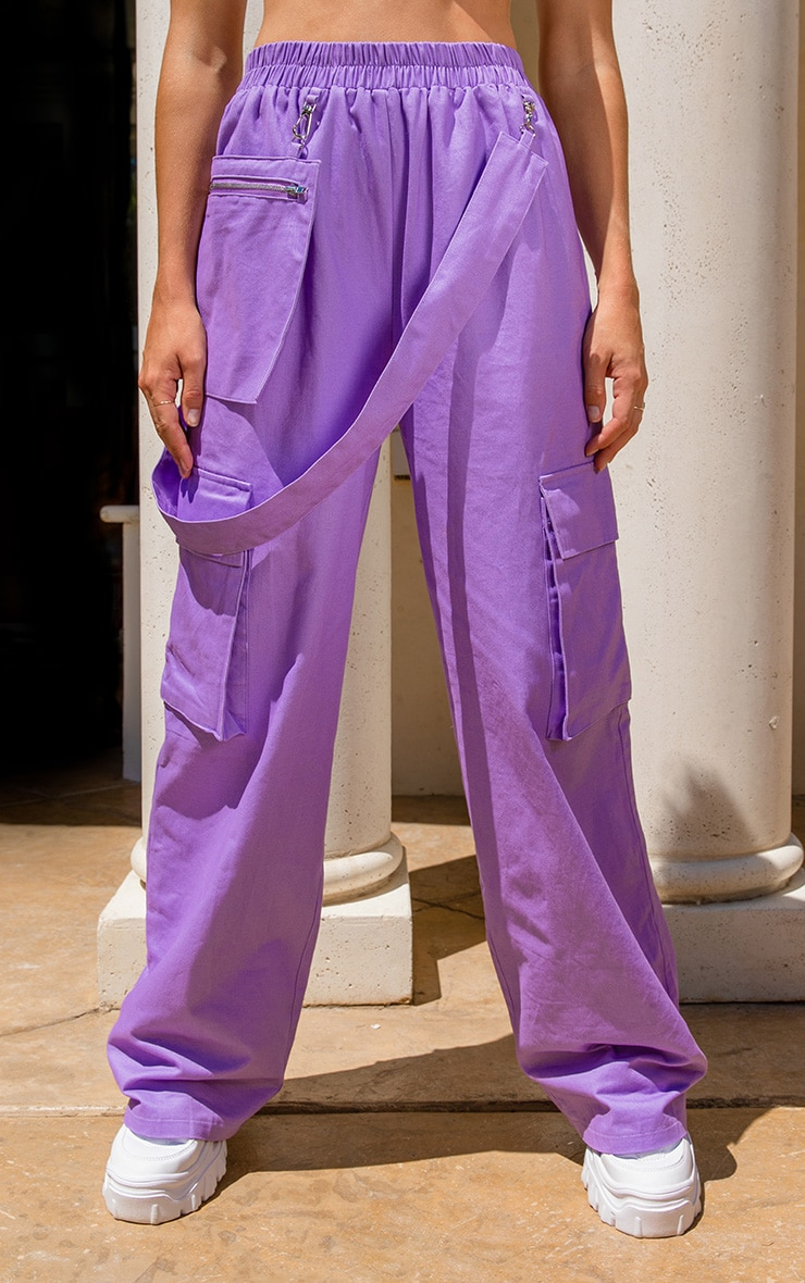 Lilac Zip Pocket Detail Wide Leg Cargo Trousers  2