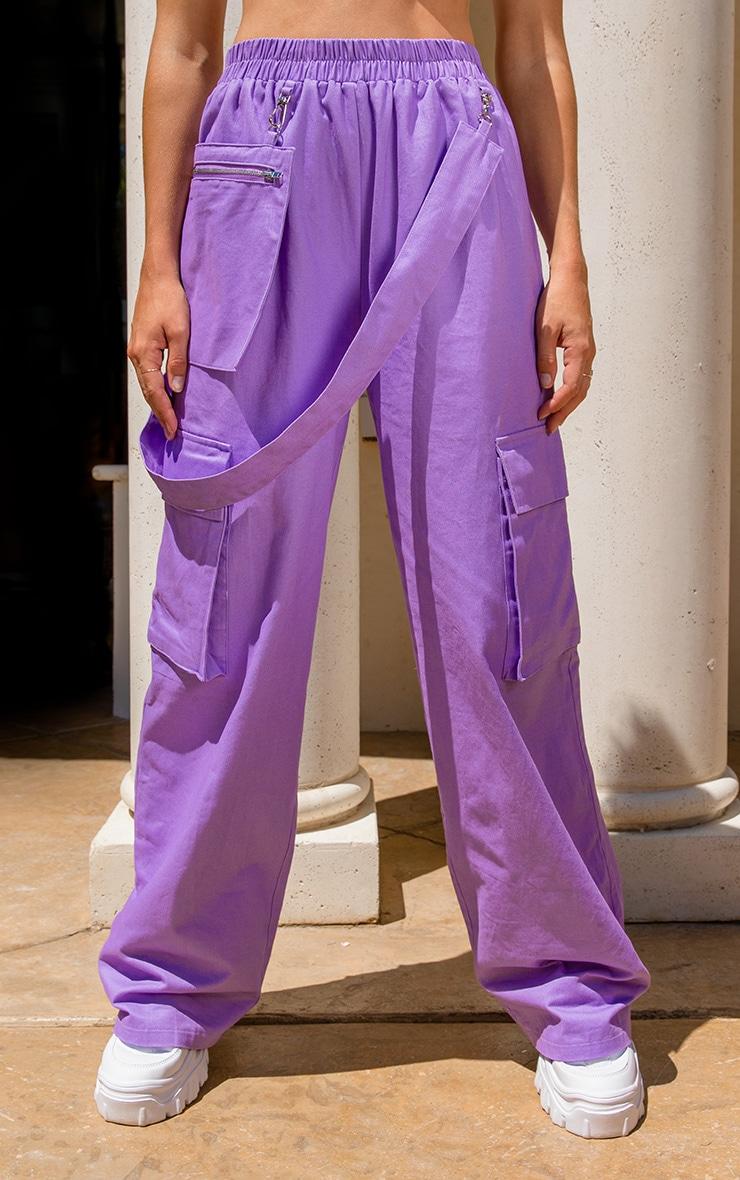 Lilac Zip Pocket Detail Wide Leg Cargo Pants  2