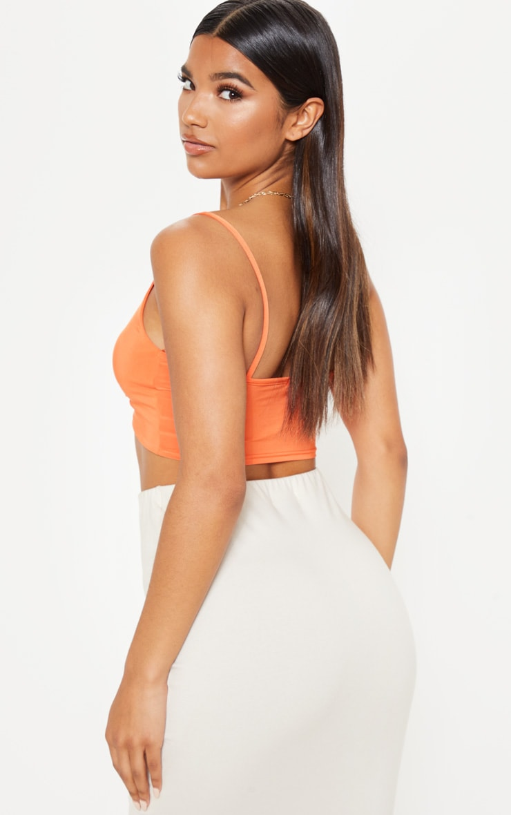 Orange Ruched Front Slinky Crop Cami 2