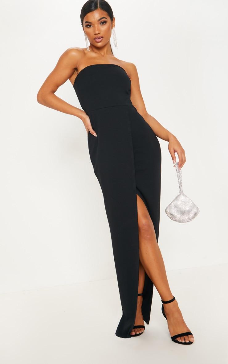 Black Bandeau Wrap Maxi Dress