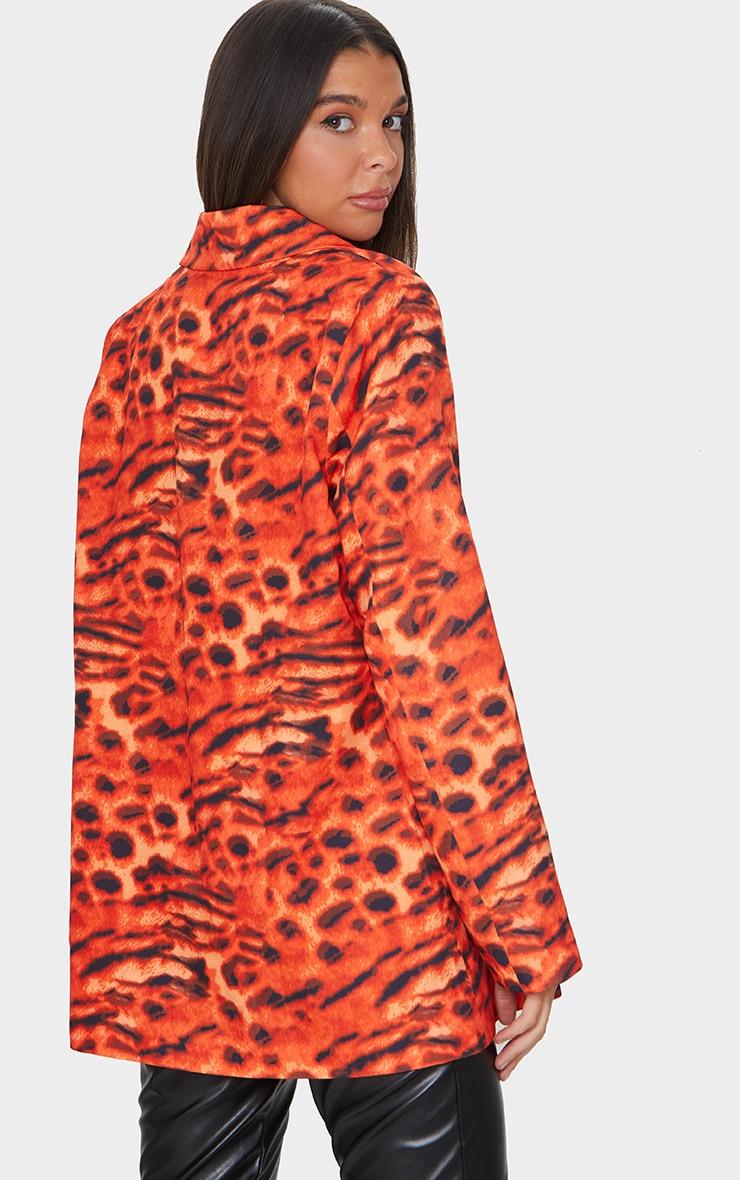 Orange Woven Triple Breasted Oversized Blazer 2