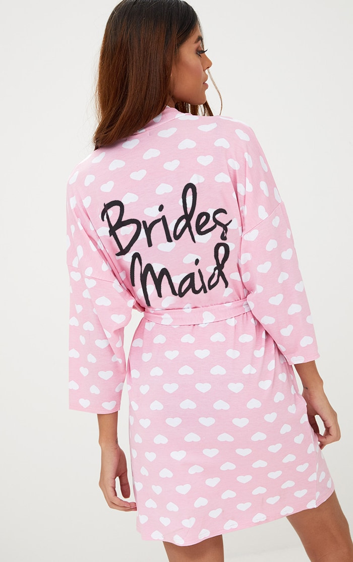 Pink Bridesmaid Heart Print Dressing Gown 1