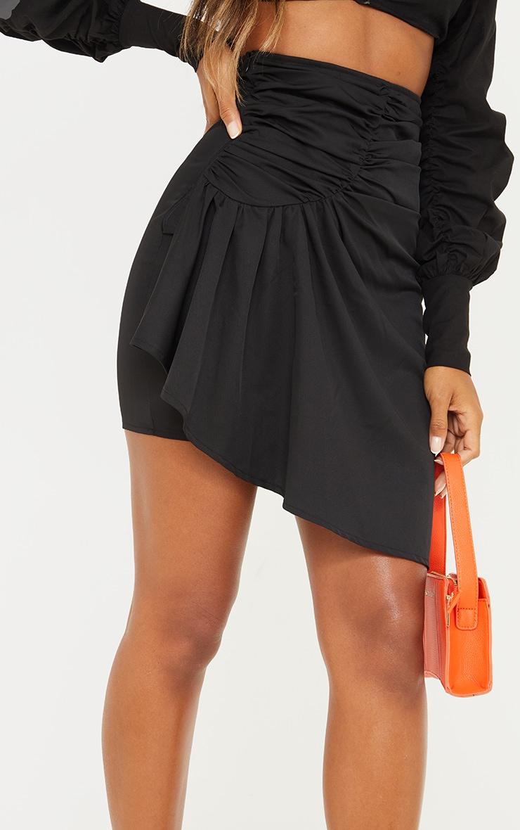 Black Woven Ruched Drape Front Mini Skirt 5