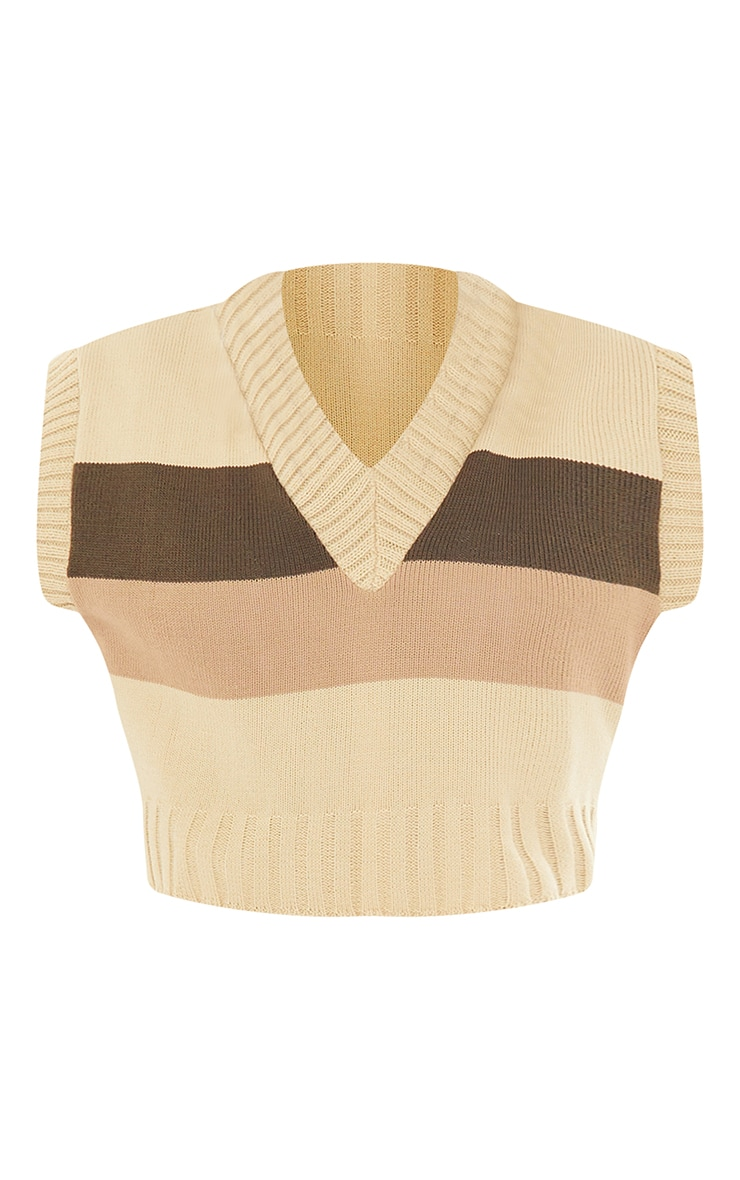 Tall Nude Striped Cropped Vest 5