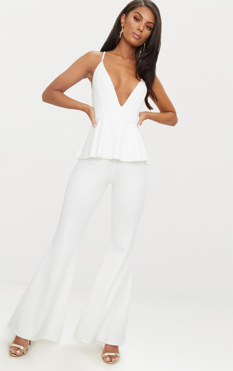 White Strappy Peplum Jumpsuit 1