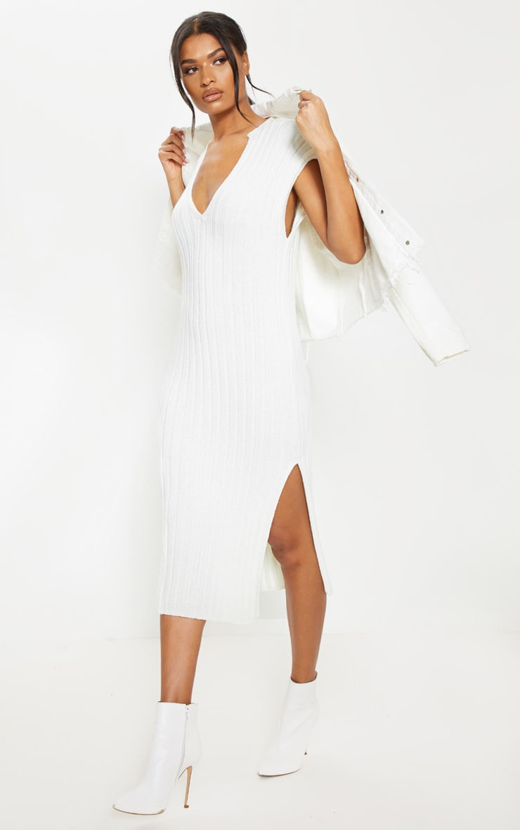 Cream Ribbed V Neck Midi Knitted Dress 4