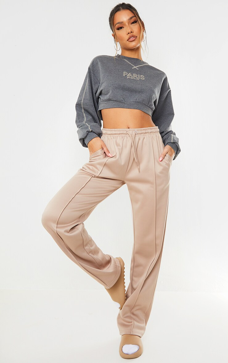 Charcoal Paris Contrast Stitch Cropped Sweat 3
