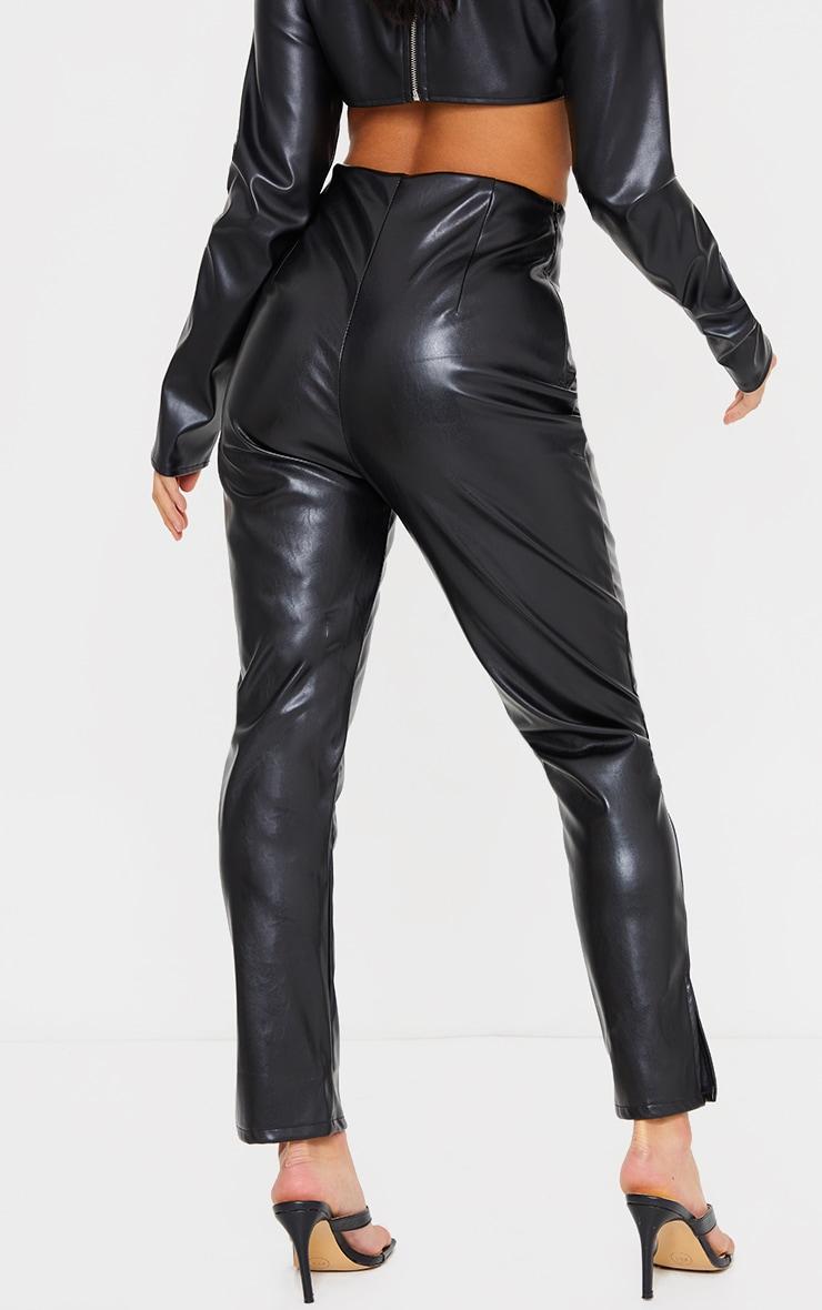 Petite Black Lace Up Detail Split Hem Faux Leather Trouser 3