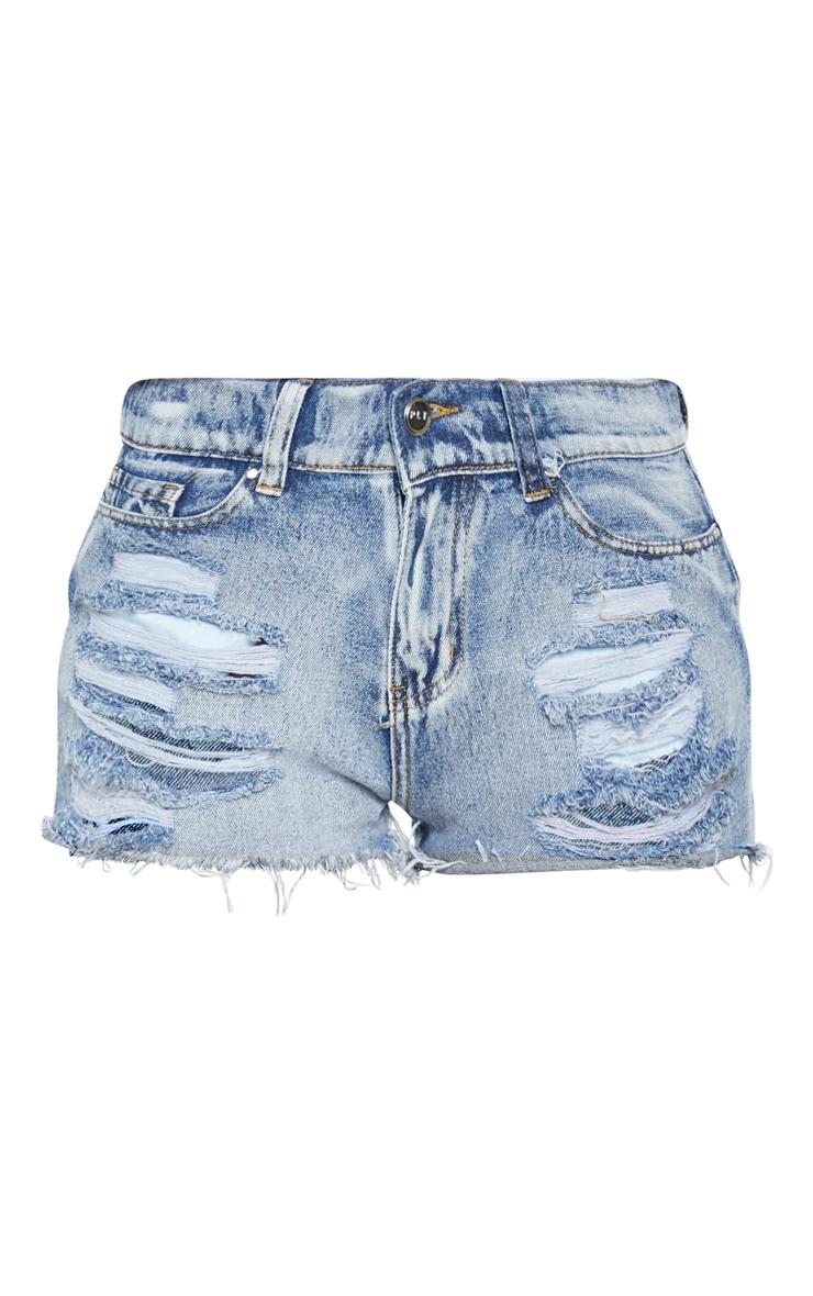 Mini-short en jean bleu javelisé déchiré 3