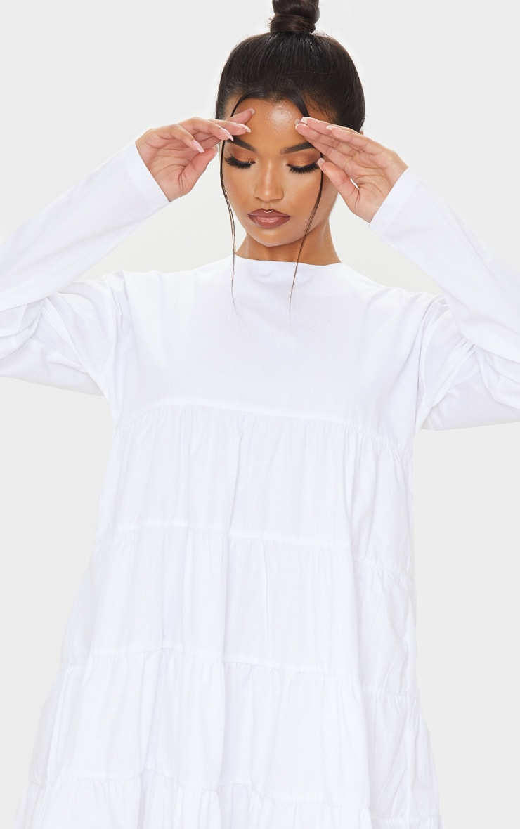 White Tiered Long Sleeve Crew Neck Smock Dress 5