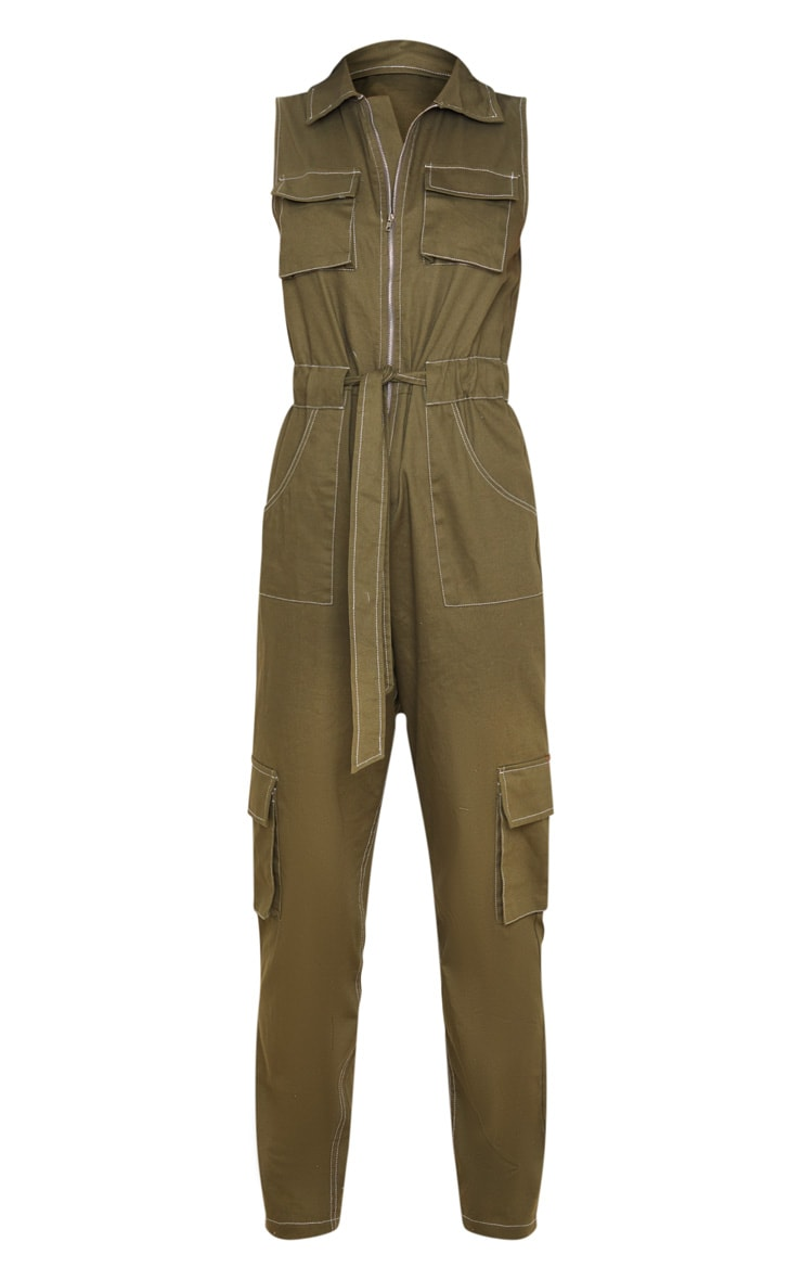 Khaki Zip Through Pocket Detail Utility Jumpsuit 3