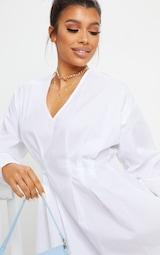 White Woven V Neck Pleated Waist Shirt Dress 4