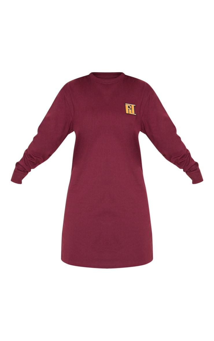PRETTYLITTLETHING Petite Burgundy Slogan Long Sleeve Dress  3