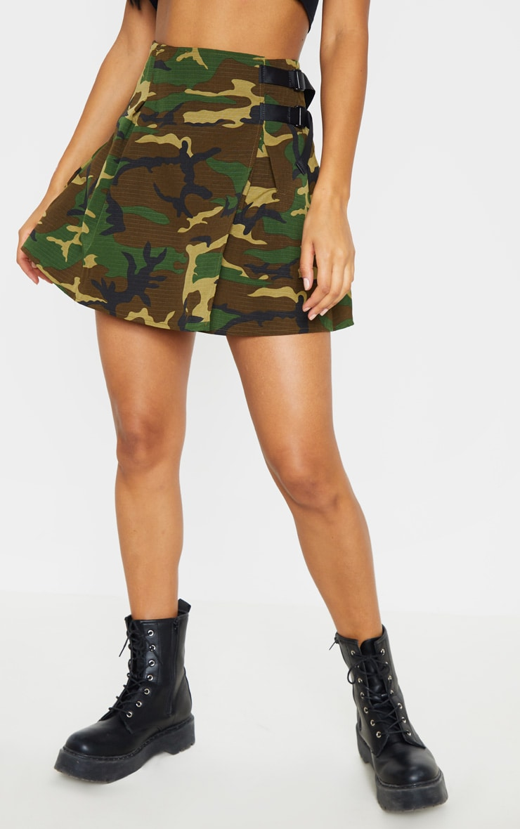 Khaki Camo Buckle Detail Tennis Skirt 2