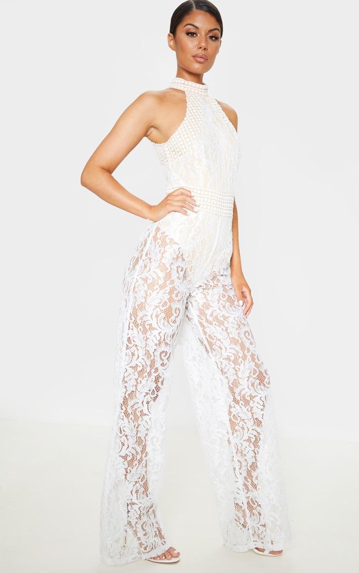 White High Neck Lace Jumpsuit 4