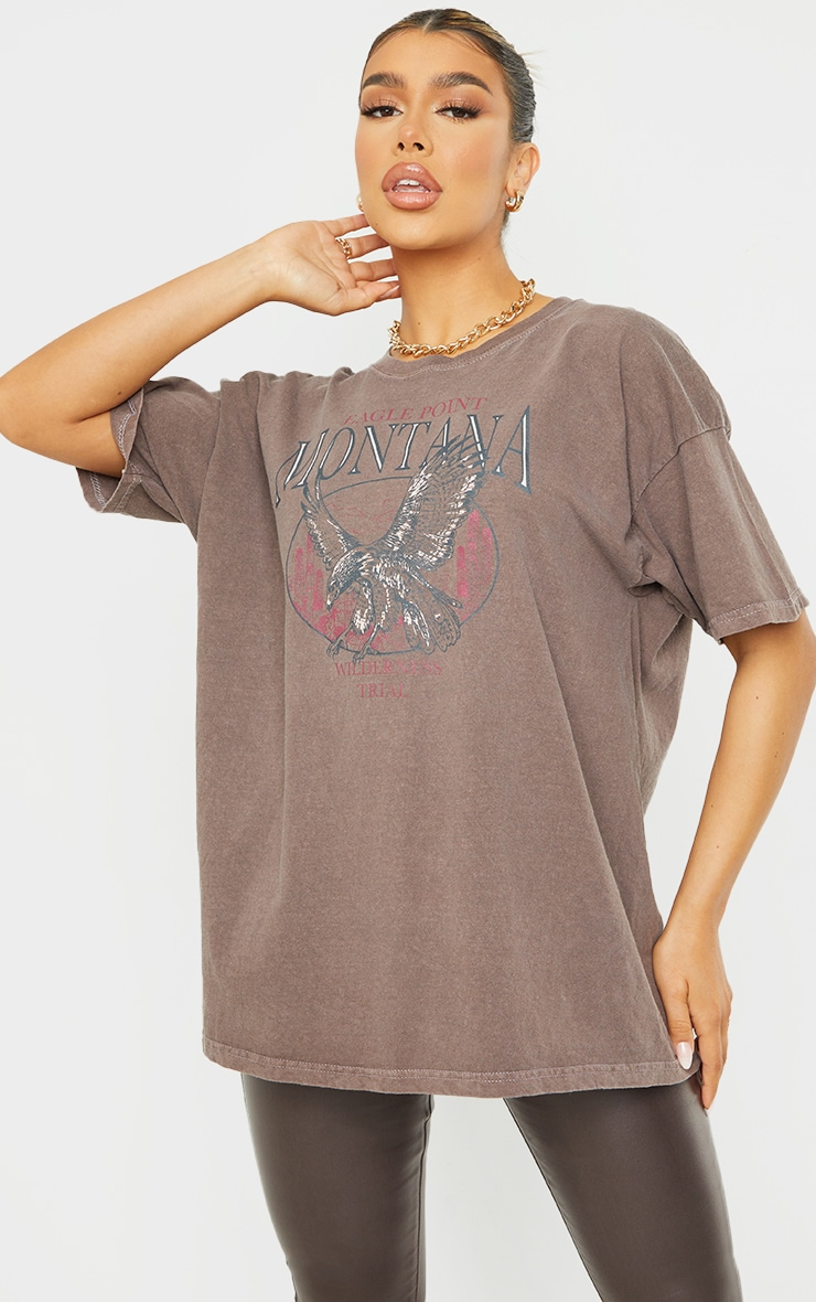 T-shirt oversize chocolat à slogan Montana 1