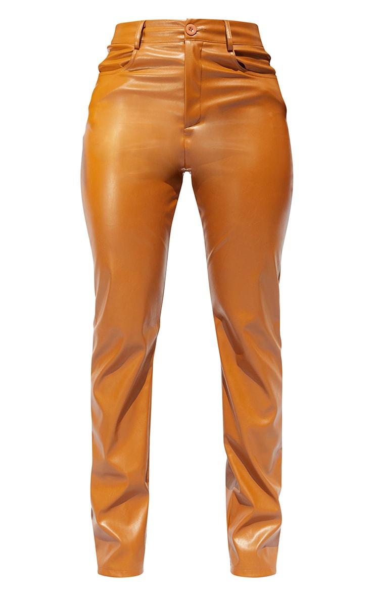 Shape Tan PU Straight Leg Pants 5