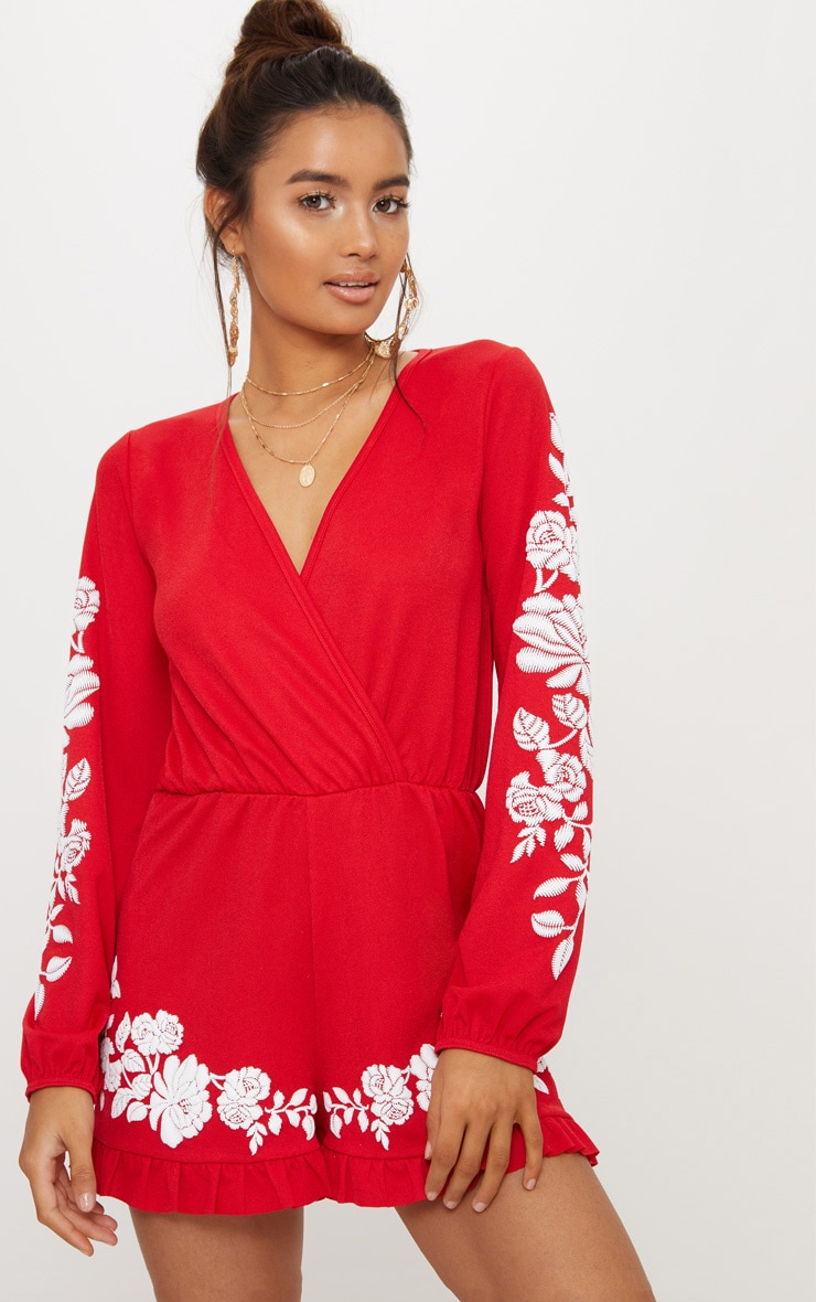 Red Crepe Plunge Puff Printed Playsuit 1