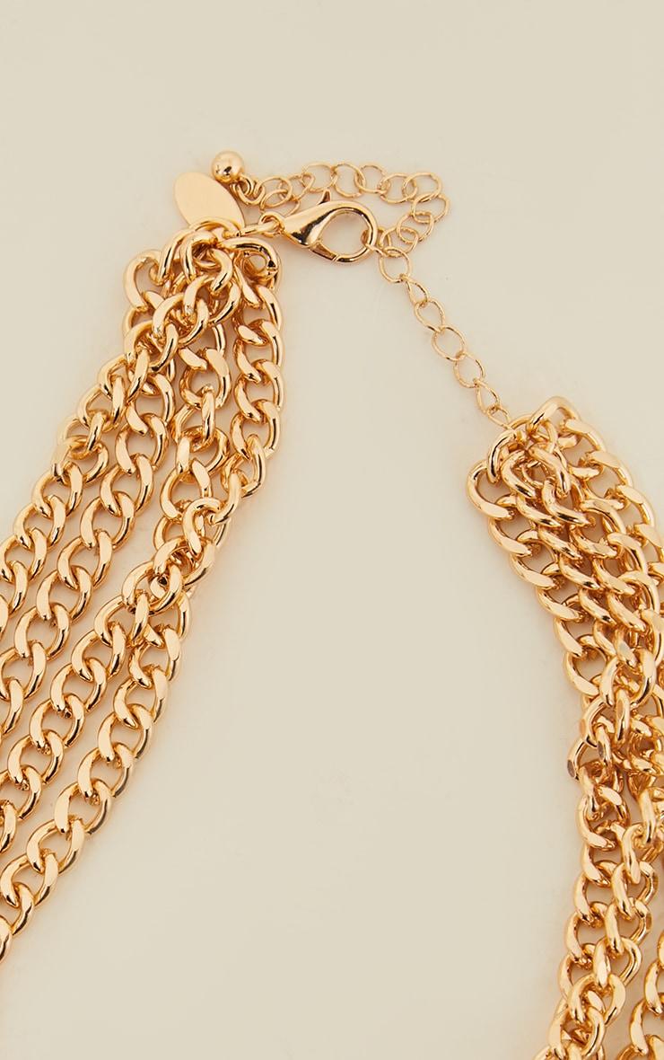 Gold Four Row Chain Choker 4