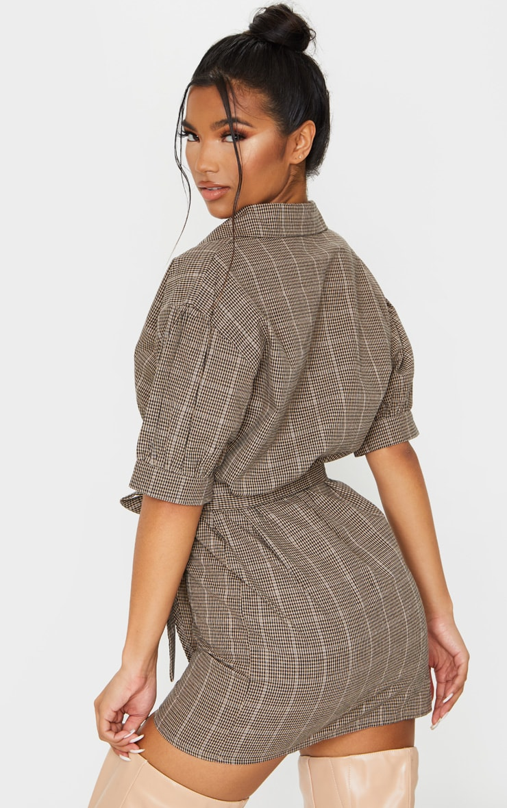 Beige Check Print Puff Sleeve Wrap Front Bodycon Dress 2