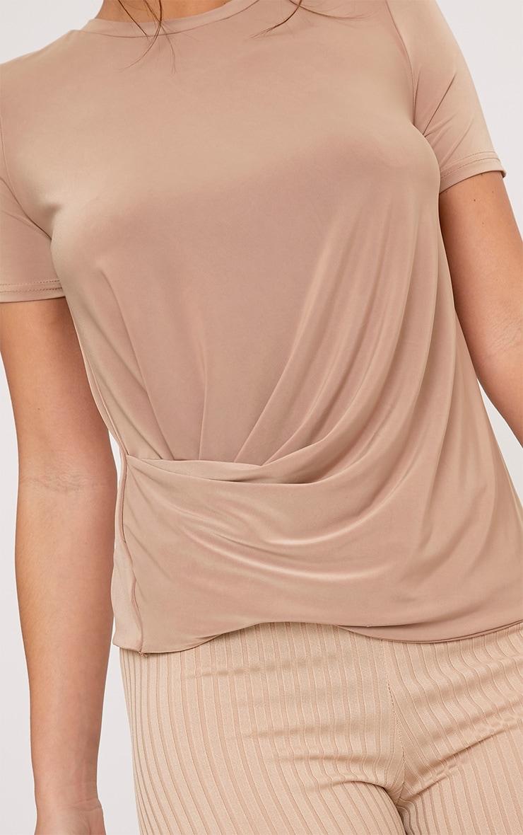 Lorelli Camel Slinky Twist Hem T Shirt 5