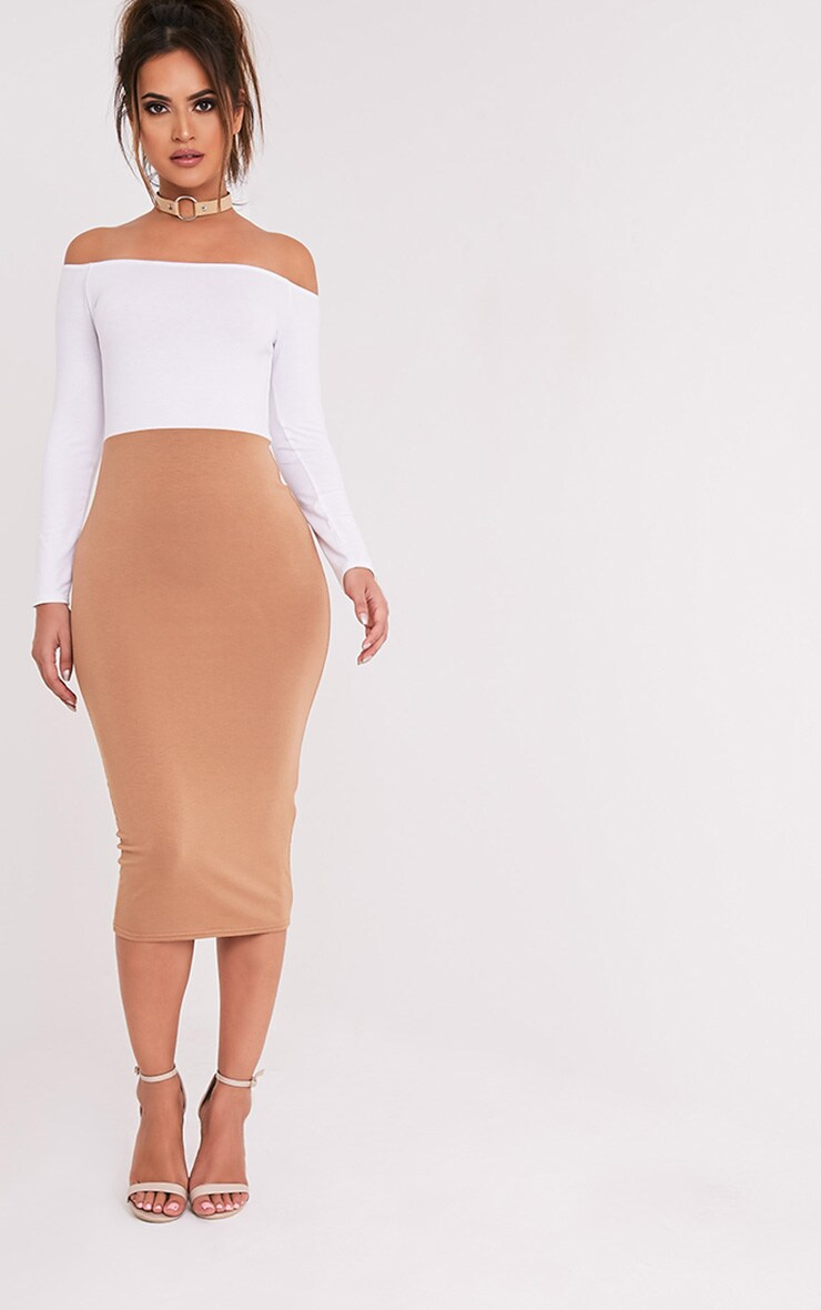 Kelisi Camel Bardot Contrast Jersey Midi Dress 1