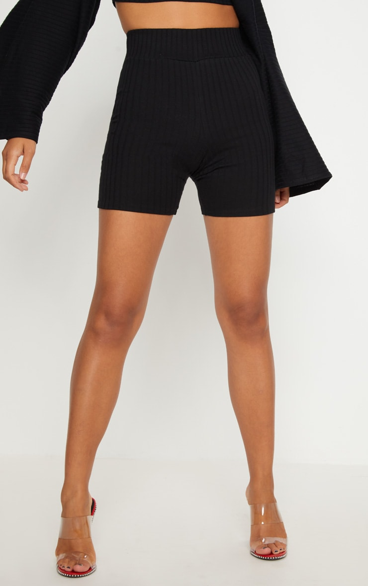 Black Rib High Waisted bike Shorts 2