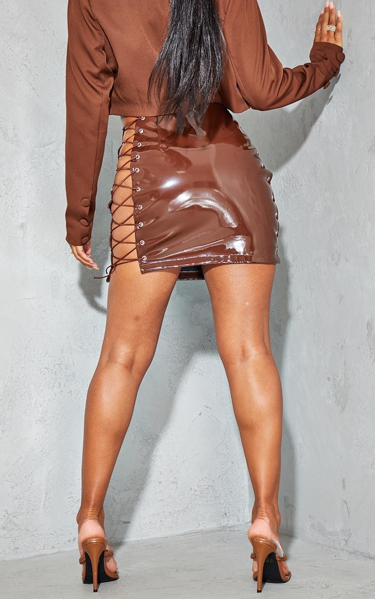 Chocolate Vinyl Lace Up Side Mini Skirt 3
