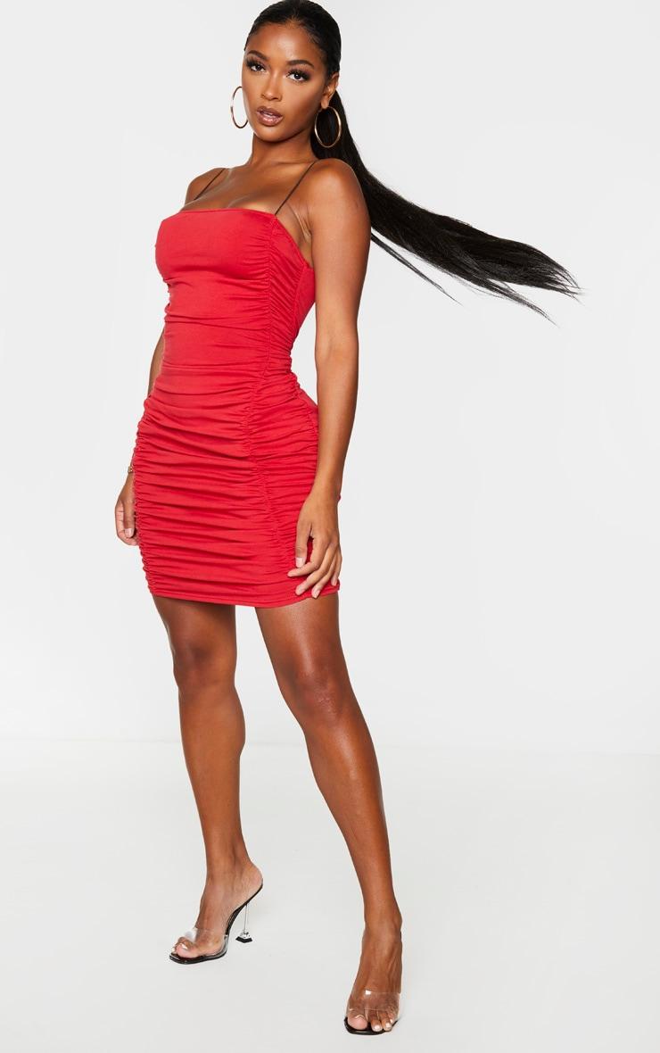 Shape Red Cotton Spaghetti Strap Ruched Bodycon Dress 3