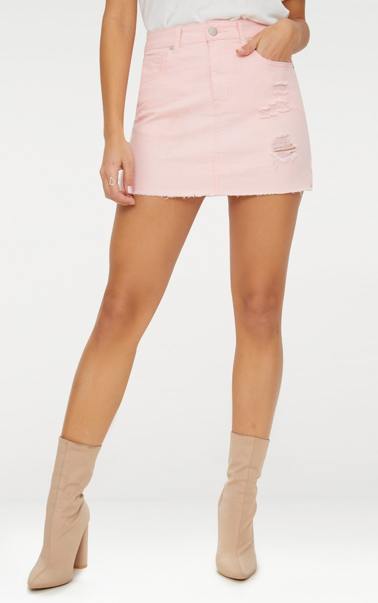 Baby Pink Distressed Denim Mini Skirt 2