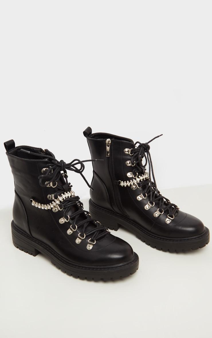 Black Diamante Detail Hiker Ankle Boot 3