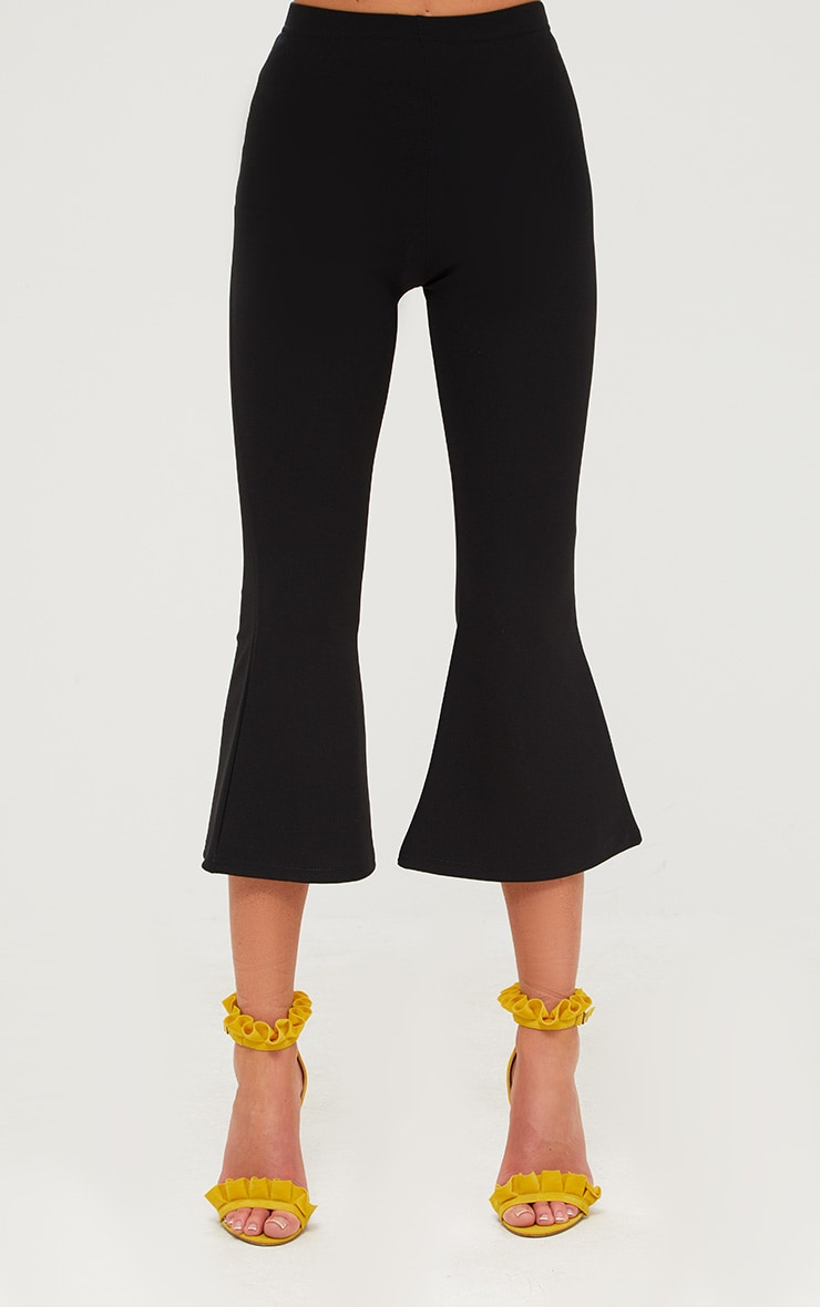 Black Cropped Flare Trousers 2