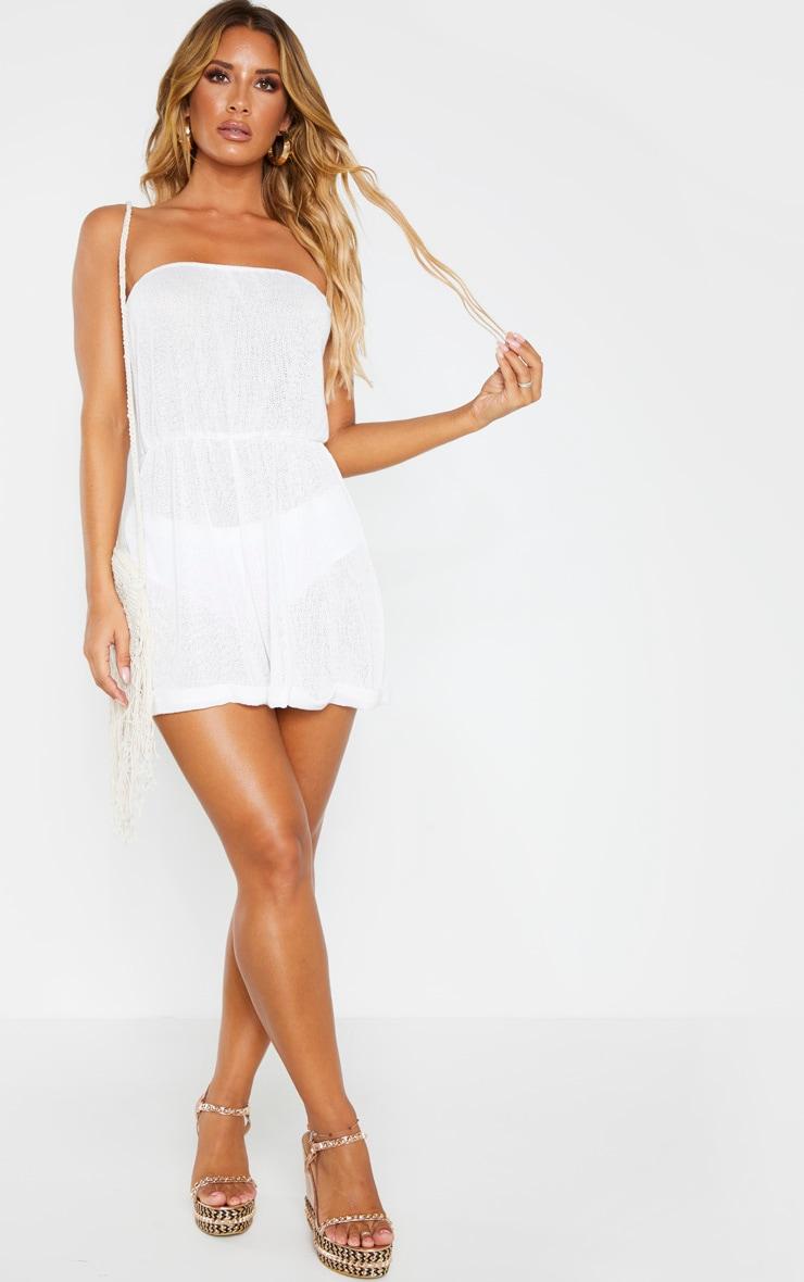 White Lightweight Knit Strapless Beach Playsuit 4
