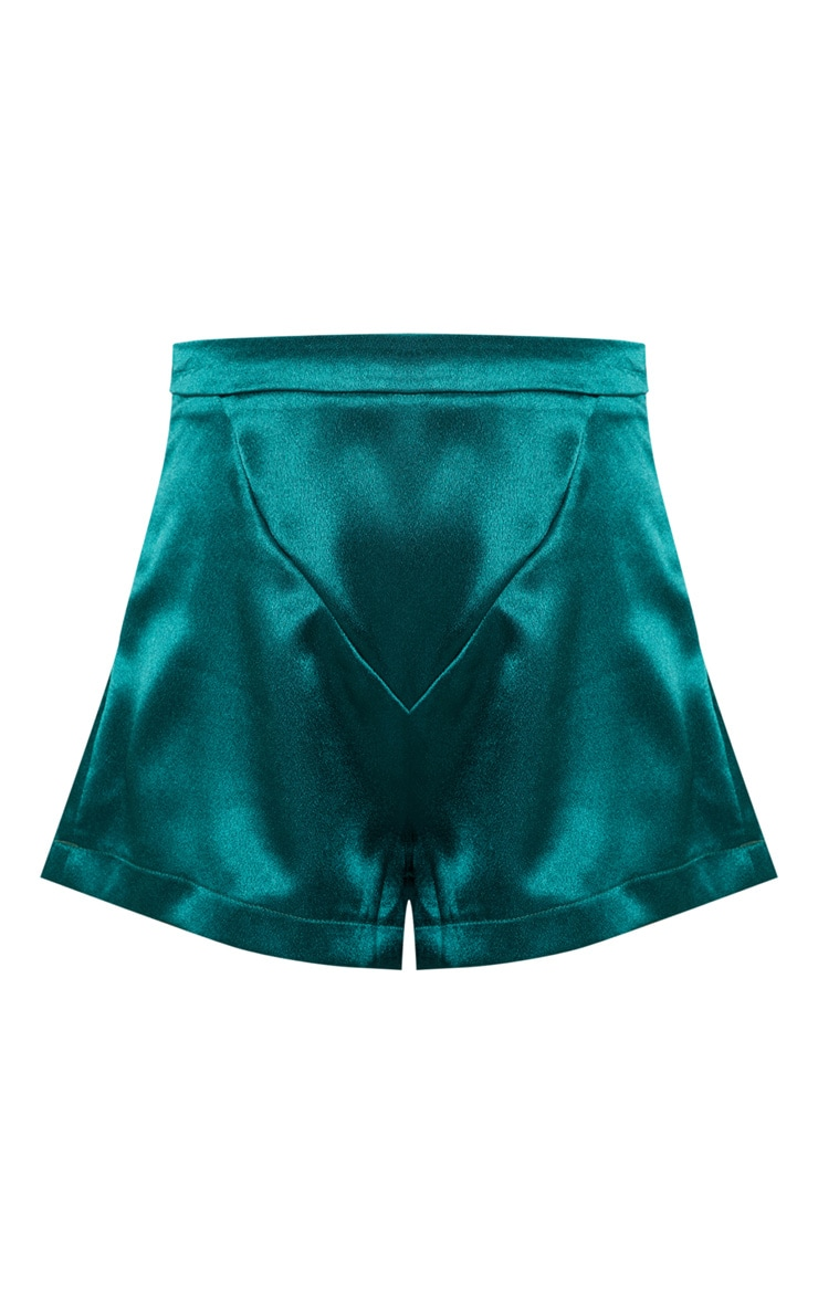 Petite Emerald Green Satin High Waist Shorts 3