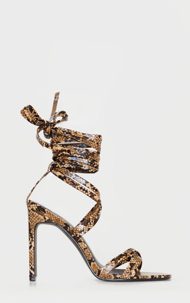 Sandales serpent marron à lanières cheville