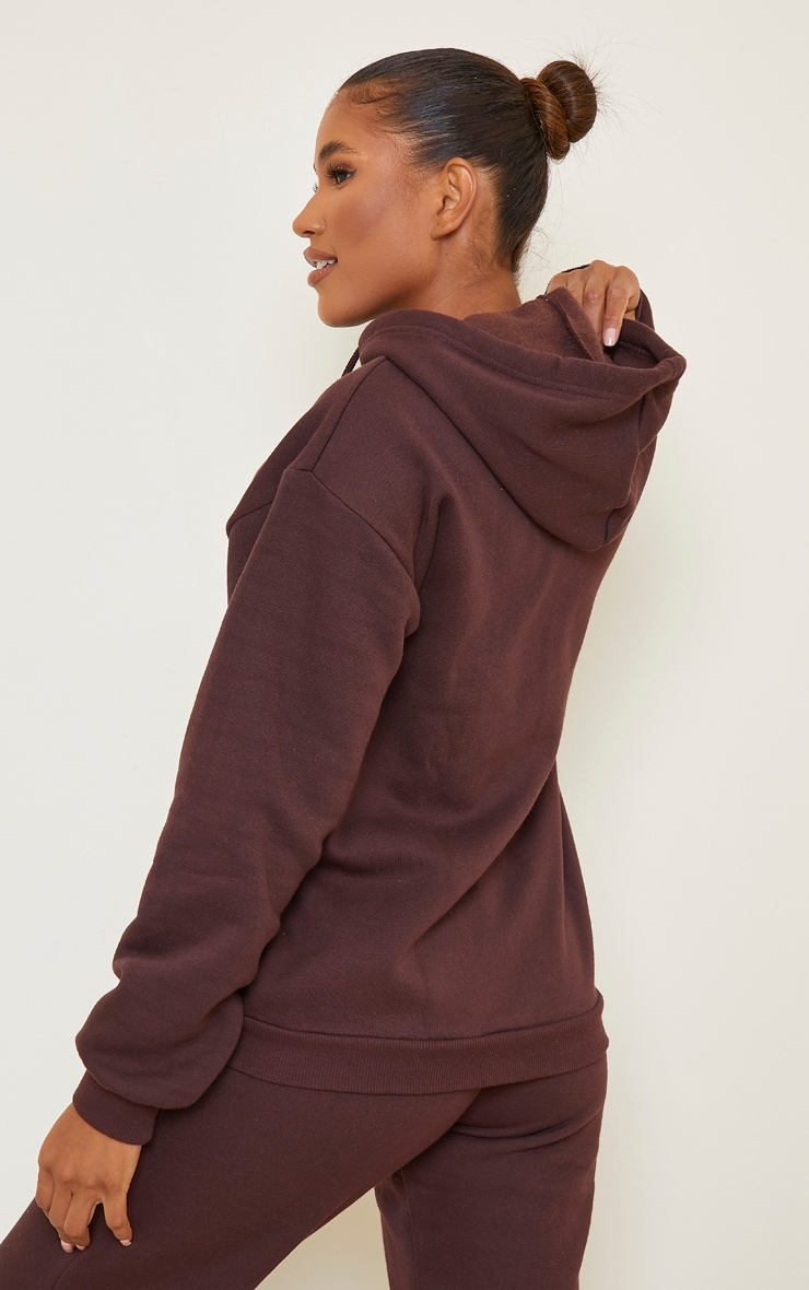 Chocolate Brown Extreme Oversized Pocket Front Zip Through Hoodie 2