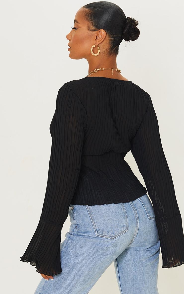 Black Sheer Plisse Tie Front Flute Sleeve Blouse 2