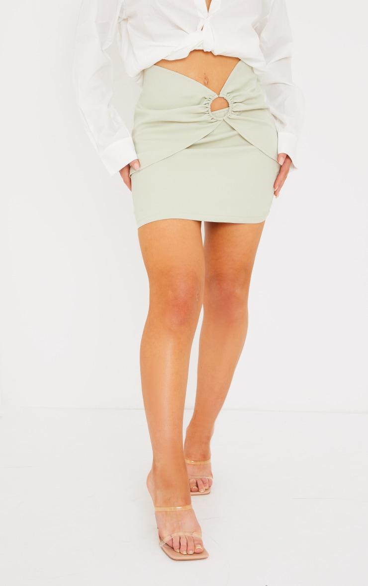 Sage Green Woven Ring Detail Mini Skirt 2