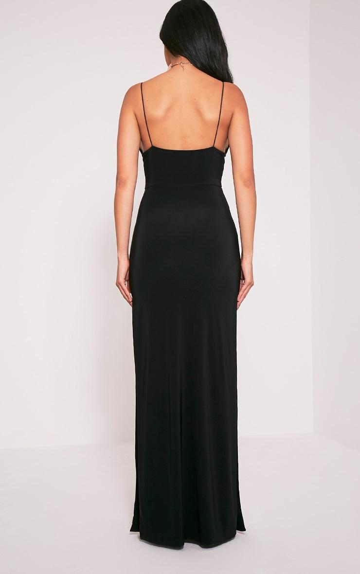 Irinah Black Slinky Strappy Plunge Maxi Dress 3